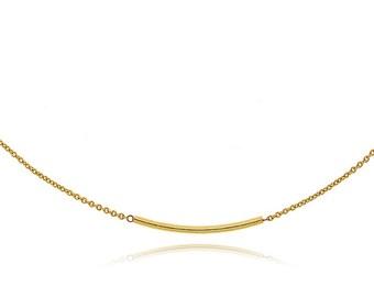 Crew neck collar chain fine gold plated tube