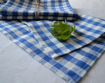 Checked Softened Linen Tea Towel, Kitchen Towel, Linen Towel, Hand Towel