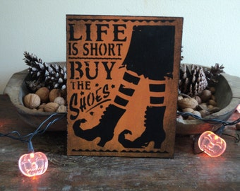 "Halloween Witch ""Buy the Shoes"" Cutout"