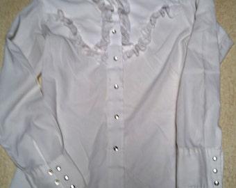 Vintage White Ruffle Miss Rodeo America Women's Western Shirt - Small