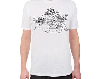 MARIO (black & white) hand-painted t-shirt