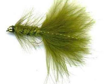 Fishing Flies - 3 Bead Head Woolly Bugger - Olive Size 14, 16, 18
