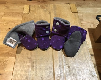 Purple Star Stay on Booties / Slippers