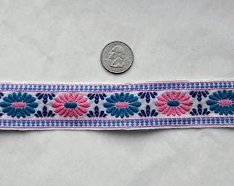 Embroidered Floral trim in pink and blue