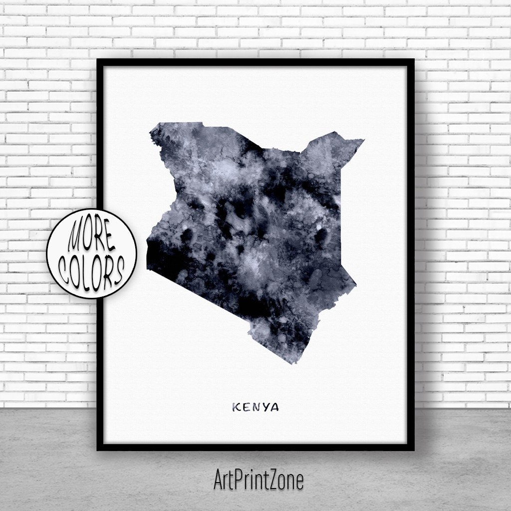 Kenya Print Watercolor Map Office Wall Decor Art Living Room Zone