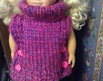 Pink Variegated Poncho for 18 Inch Doll