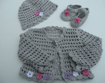 Hand Crocheted Cardigan Set.Ready To Post.Cotton Baby Outfit,Grey/Pink,0-6 months.