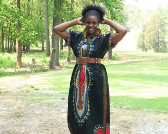 BLACK Dashiki Dress