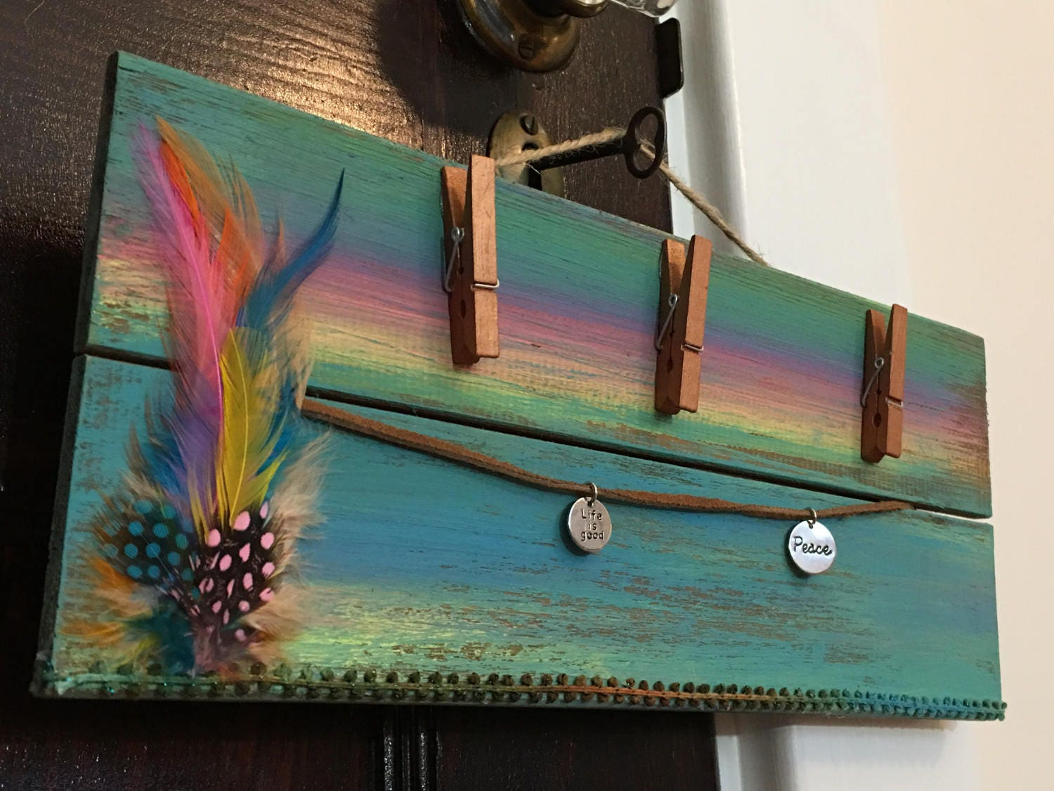 Colorful frame rustic bohemian wall decor peace life is good 2499 amipublicfo Gallery