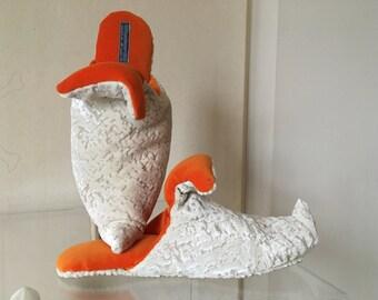 Babouche Velvet Slippers Orange Off white