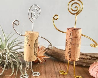 Standing wine cork and wire figurine,gift for wine lovers, up cycled wine corks, cork gift for baby showers or wedding, quirky art, cork art