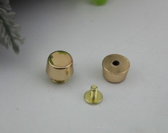 10sets Plated Rivets Flat Head Belt Screws purse leather bag handbag Screws rivet  Golden Leather Work studs High Quality