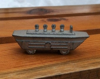 Soviet vintage toy Made in USSR Army tin vehicle Pewter casting Gift for boys Collectible Military toy vehicle Tin car