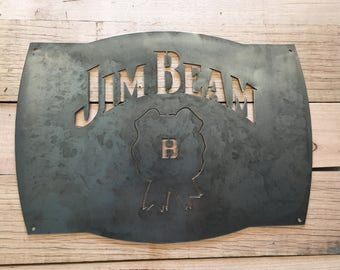 Jim Beam Mancave steel plasma cut wall garden art sign