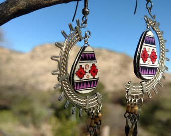 Aztec inspired dangle earrings