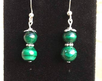 Vintage Malachite and Sterling Silver Earrings
