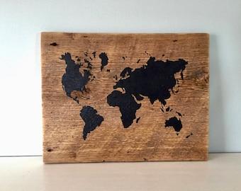 World Map - Small - Vintage Barn Wood