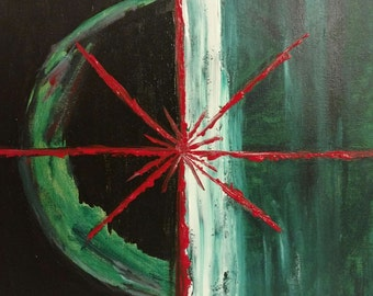 The End~original 12x12 acrylic painting on stretched canvas.