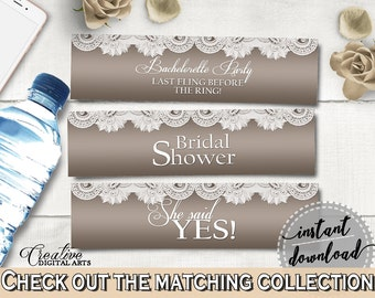 Brown And Silver Traditional Lace Bridal Shower Theme: Bottle Labels - water bottle labels, silver bridal lace, instant download - Z2DRE