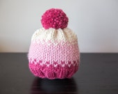 RTS Fair Isle Chunky Knit Beanie | Knit hats for children | Knit Pom Pom Hat | Cream-Pink- Knit hat