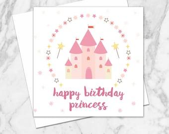 Birthday Cards. Princess Birthday Card. Girl Birthday Card. First Birthday Card. Gift Card. Fairytale Princess Birthday Card. Greeting Card.