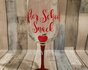After School Snack Glitter Wine Glass.