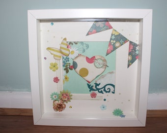 Girly, Bunting, Butterlfies and flowers boxed frame with heart and paper work detail design 2/3