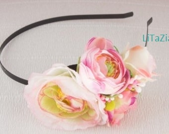 Romantic hair band with pink flowers,roses, camellias