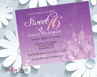 Sweet 16 Custom Printable Birthday Invitation, Sweet 16, Sweet Sixteen, 16th Birthday Girl, Flower & Butterflies