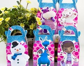 Doc Mcstuffins favor box, Doc Mcstuffins candy box, Doc Mcstuffins goody bag, Doc Mcstuffins Treat bag, Doc Mcstuffins Treat box, Party box