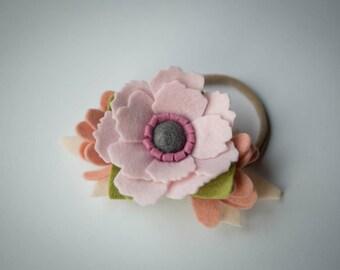 Felt Flower Headband // Lt Pink and Blush