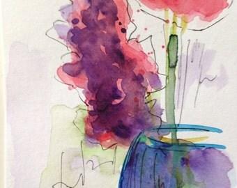 """Watercolor, ink, watercolour postcard """"Flowers in the vase"""" 14.8 x 10.6 cm, flowers, unique"""