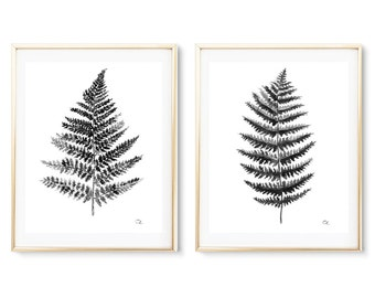 Fern watercolor print Set of 2 Art print Fern black and white Wall decor Botanical watercolor print Fern Leaves poster