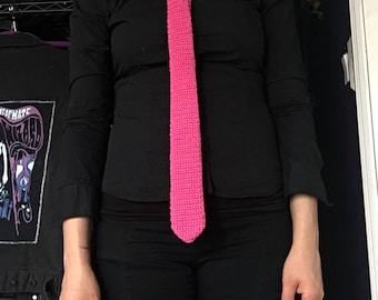 Lotus Pink Crochet Necktie