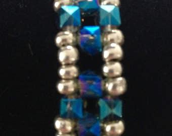 Blue Crystal Bracelet, Beaded Bracelet, Crystal Bracelet, Blue Bracelet, Silver Bracelet, Unique Bracelet