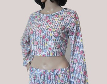 Cambric cotton floral shorts and crop top, summer outfit