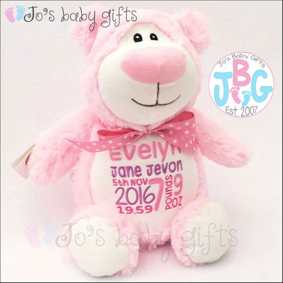 Personalised Pink Teddy Bear, Embroidered Cubbies Teddy Gift, personalised baby gift, Christening baby gifts, new baby custom bear, birth st