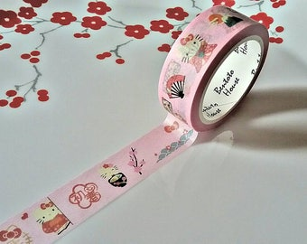 Pink Hello Kitty Japanese Washi Tape. Scrapbook. Stationery Masking Tape. Pretty tape.