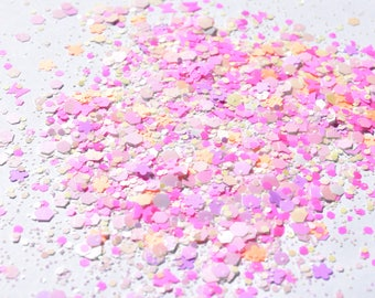 100 g/93,33 EUR - bag glitter sequins Hexagon glitter mix Flower Butterfly Butterfly flower mat