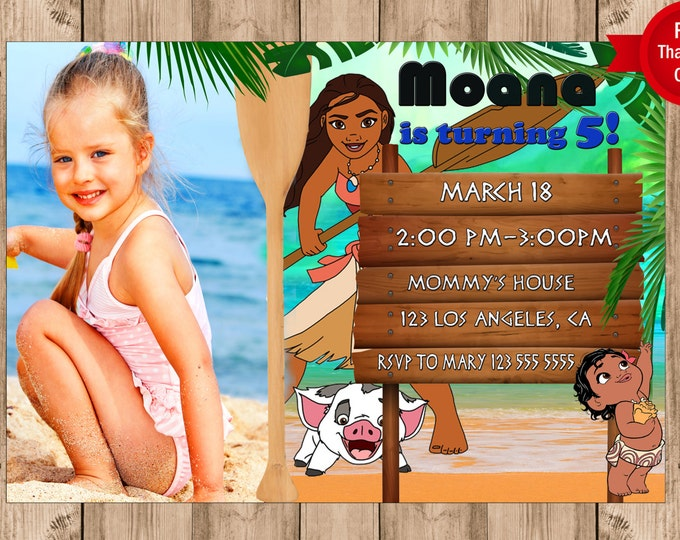 Moana birthday invitation FREE THANK YOU card Moana party Moana invites digital file Printable invitation girl birthday invitation ocean