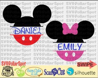 Mickey & Minnie Split Monogram SVG - Disney Trip SVG -Minnie and Mickey - SVG File - Silhouette Studio File