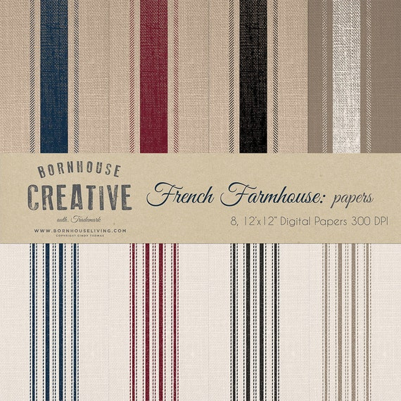 French Farmhouse Grain Sack Digital Download Scrapbook Papers