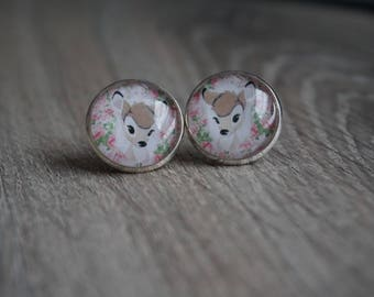 Earrings - earrings, 18 mm / Disney, deer, rose, flower Fawn Bambi