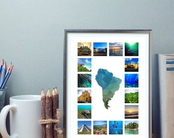 A3 Customisable Map Travel Photo Collage (Blue)