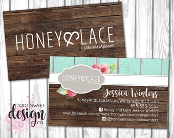 Honey and Lace Business Card, Custom Honey & Lace Business Card, Personalized Consultant Marketing Kit, Rustic Wood Shabby Chic PRINTABLE