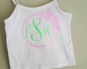 Toddler Cami with bow frame and initials