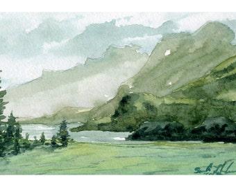 Original watercolor, original painting, nature art, nature painting, landscape artwork, original art, wall decoration, home decor, painting