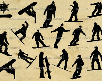 Digital SVG PNG JPG Snowboarding, sport, snowflake, snowboard, vector, clipart, silhouette, instant download