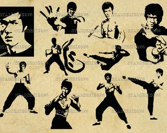 Digital SVG PNG JPG Bruce Lee, silhouette, vector, clipart, instant download