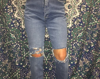 DISTRESSED high waisted jeggings mom jeans